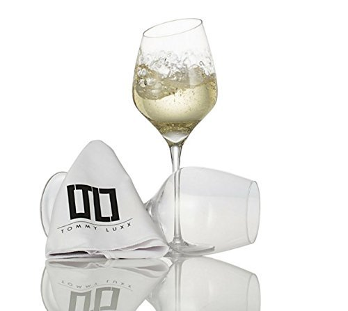 White Wine Glasses - Lead-Free Crystal - 2 Glass Luxury Gift Set - Unique Hand Blown Crystal- Microfiber Cleaning Towel Included (Luxury Wine Gifts)