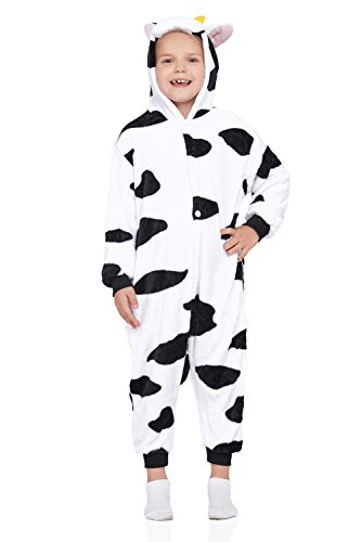 Nothing But Love Kids Cow Pajamas Animal Kigurumi PJ Onesie Plush Onsie One Piece Cosplay Costume (Large, Cow)