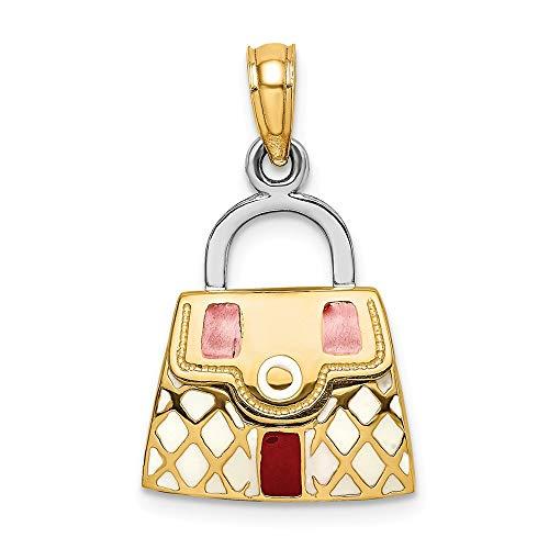 14k Yellow Gold 3-D Red & White Enamel Moveable Handbag Charm