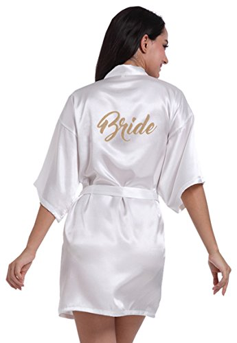 MoonRobe Kimono Satin Robes for Bride and Bridesmaid Wedding Party Getting Ready Robes with Gold Glitter
