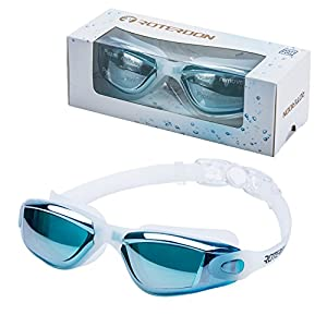 ROTERDON Swim Goggles, Swim Goggles Adults Anti Fog Water Proof Kids Eyes UV Protect Mirrored Racing Water Goggle For Men Women Children Youth Junior From Swim On Line Store,Light Blue