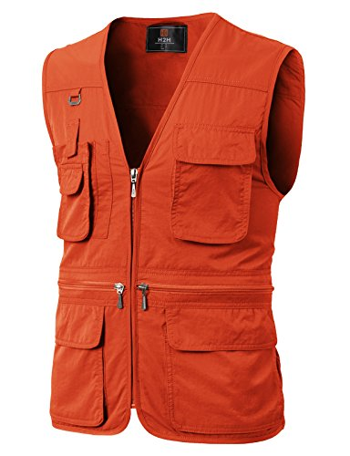 (H2H Men's Durable Reversible Outdoor Casual Vests Orange US M/Asia L (KMOV0113))