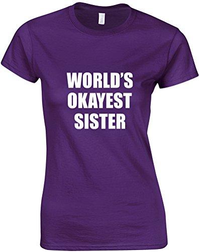 World's Okayest Sister, Ladies Printed T-Shirt - Purple/White M = 4-6