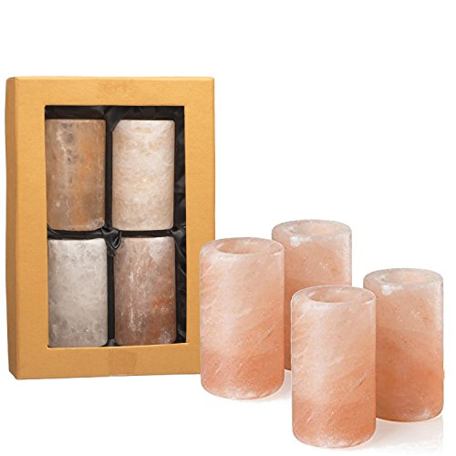 UmAid Pink Himalayan Salt Tequila Shot Glasses (Set of 4) Unique Barware 1.25 - 1.5 Ounces, Drinking Glass, Hand Carved Shooters Pure Himalayan Salt, Kosher FDA Certified Food Grade - Glass Pink Shot Glasses
