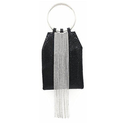 doux poignet strass de soirée strass embrayage sac femmes Noir gland MMYOMI ZngaSwq4a