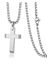 Stainless Steel Cross Pendant Necklace Chain for Men Women with 20-24 Inches Rolo Chain COOLUXU