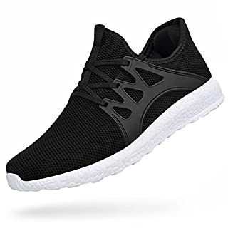 Feetmat Mens Athletic Shoes Non Slip Tennis Workout Shoes Wide Slip On Mesh Gym Running Sneakersblack White 11.5