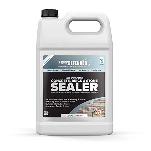 (All Purpose Concrete, Brick & Stone Sealer, Clear Penetrating Water Repellent for Porous, Exterior, Brick, Concrete, Stone, Cultured Stone, Sandstone, Limestone & Granite Siloxane Sealer, 1)