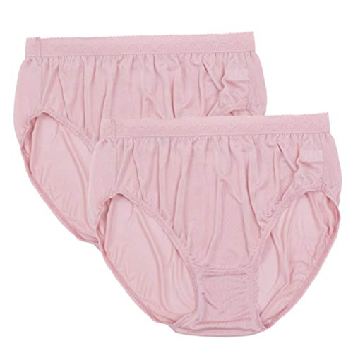 (Forever Angel 2 Pack Women's 100% Pure Silk Knitted Panties Pink Plus Size XXL)