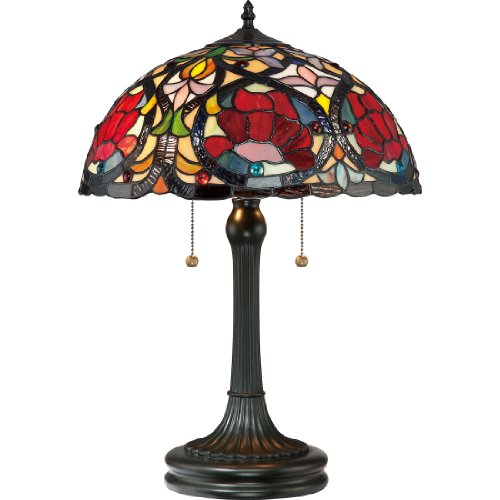 Quoizel TF879T 2-Light Larissa Table Lamp in Vintage Bronze (Stained Quoizel Chandelier Glass)