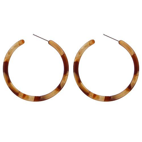 Round Shell Earrings - BaubleStar Tortoise Shell Resin Hoop Earrings Acrylic Round Circle Dangle Amber Ear Drops Fashion Jewelry for Women Girls B0106BR