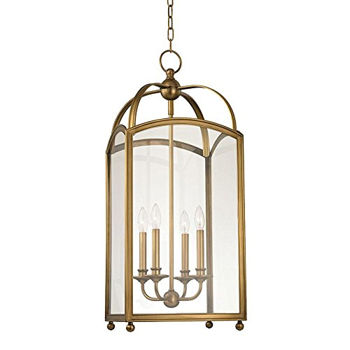 - Hudson Valley Lighting 8414-AGB Millbrook 4-Light Chandelier With Clear Glass Shade, 14