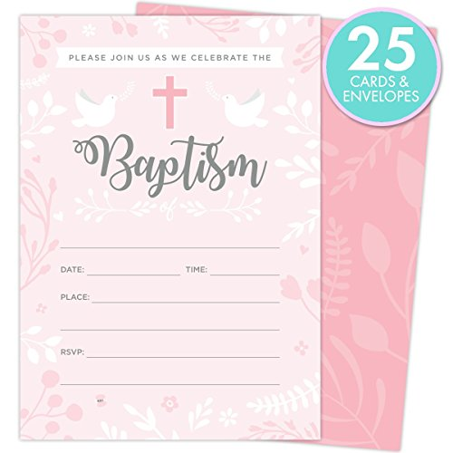 Baptism Invitations for Baby Girls, 25 Fill In The Blank Style Cards and Envelopes. Baptism Invitations