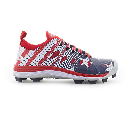 dce72b50f Boombah Men s Squadron Flag Molded Cleats Royal Blue Red White – Size 6  (Misc.)