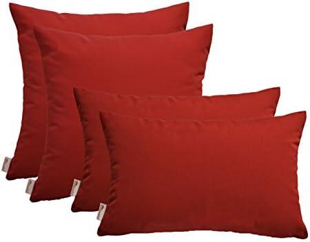 RSH DECOR Set of 4 Indoor Outdoor Pillows – 17 Square Throw Pillows 2 Rectangle Lumbar Throw Pillows – Sunbrella Canvas Jockey Red