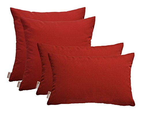 RSH DECOR Set of 4 Indoor Outdoor Pillows – 17 Square Throw Pillows 2 Rectangle Lumbar Throw Pillows – Sunbrella Canvas Jockey Red