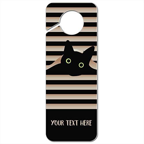 GRAPHICS & MORE Personalized Custom Black Cat in Window 1 Line Plastic Door Knob Hanger Sign - Image