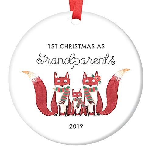 New Grandparents 1st Christmas Ornament 2019 Cute Fox Family Grandmom Grandpop & Grandchild First Holiday Grandmother Grandfather Ceramic Keepsake 3 Flat Porcelain with Red Ribbon & Free Gift Box