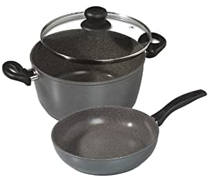 "Stoneline - Non-stick Stone Cookware - 3 Piece Set - Large 11"" diameter Deep Frying Pan & XL 11"" Pot + Glass Lid"