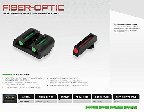 TRUGLO Fiber-Optic Front and Rear Handgun Sights for Glock Pistols, Glock 42, 43