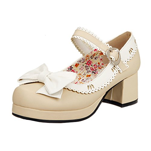 Enmayer Womens Bows Bells Buckle Lolita Cosplay Chunky Mid-hiel Mary Janes Shoes Beige (g1)