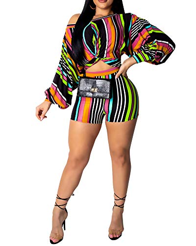 Womens Sexy 2 Piece Set Stripe Printed One Shoulder Crop Top Shorts Club Jumpsuit Green XL