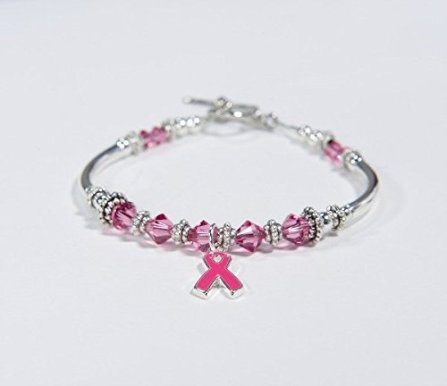 Swarovski Breast Cancer Bracelet - Breast Cancer Bracelet // Pink Ribbon Awareness Charm Bracelet // Swarovski Crystal bracelet // survivor, hope, support, strength // Pink