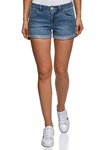 oodji Ultra Women's Basic Denim Shorts, Blue, 6