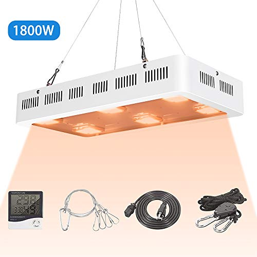 X6 1800W COB LED Grow Light UV Full Spectrum X6 COB LED Plant Light Dasiy Chain with On/Off Switch with Temperature and Humidity Monitor, Hanging Hook Kit, Adjustable Rope, - Switch Limit Rh