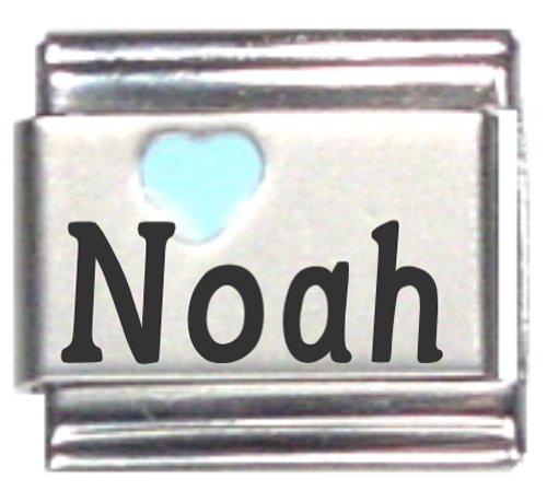 Noah Light Blue Heart Laser Name Italian Charm Link