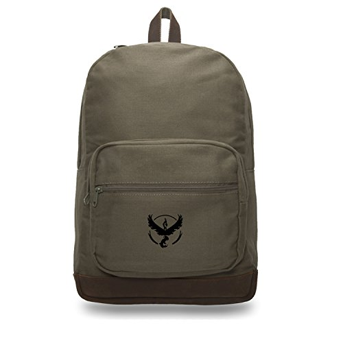 - TEAM VALOR Canvas Teardrop Backpack with Leather Bottom Accents, Olive & Bk
