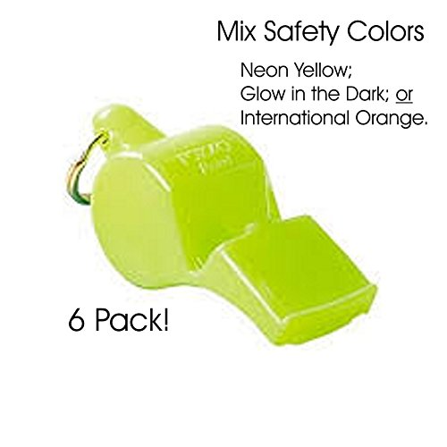 - 90dB - 6 PACK (SAFETY COLOR mix) (Fox 40 Mini Whistle)