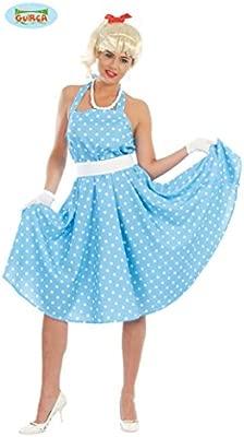 FIESTAS GUIRCA Traje de Baile de Lunares Azul con Vestido Boogie de los años 60.
