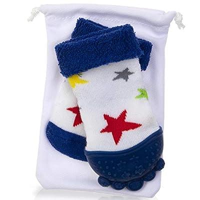 Nuby Soothing Teether Sock, Blue Stars, 5
