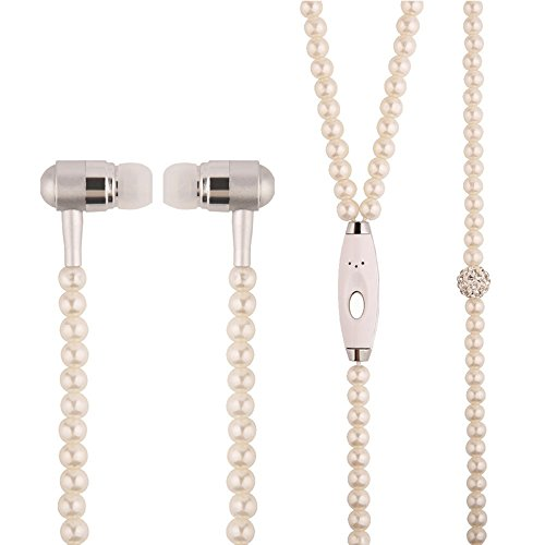 SCASTOE 3.5mm Luxury Pearl Necklace Earphones with Microphone In ear Super Stereo Wired Headphone Pink
