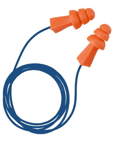 Tasco 9012 Tri-Grip (BG) M-Tek Metal Traceable Pre-Molded Earplugs, NRR=27, Detectable Cord, Orange (Pack of 100)