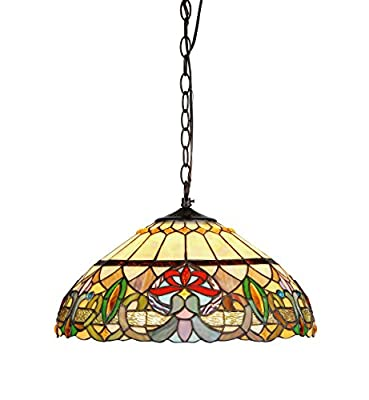 Chloe Lighting CH33360VR18-DH2 Hester Tiffany Style Victorian 2 Light Ceiling Pendant Fixture with 18-Inch Shade, Multi Colored