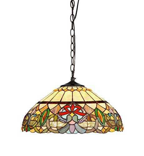 Chloe Lighting CH33360VR18-DH2 Hester Tiffany Style Victorian 2 Light Ceiling Pendant Fixture with 18-Inch Shade, Multi (18 Light Foyer Pendants)