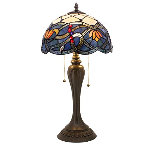 Tiffany Table Lamp Stained Glass Lotus Style Table Lamps Wide 12 Height 22 Inch for Living Room Antique Desk Beside Bedroom with Antique Style Base Sets S220 WERFACTORY ()