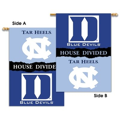 NCAA N. Carolina - Duke 2-Sided House Divided Rivalry Banner Flag Wall Scroll Duke House Divided