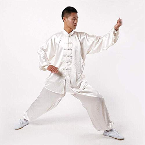 Andux Chinese Traditional Tai Chi Uniforms Kung Fu Clothing Unisex SS-TJF01 White (M)