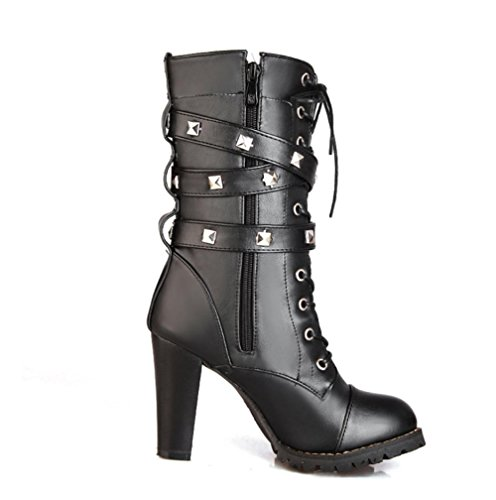 4U redonda Mejor de Punta altos 9CM Negro Martin Remache Estilo mujer casual metal PU Zapatos Hebilla Tacones Marrón Premium de Negro Botas drrqO