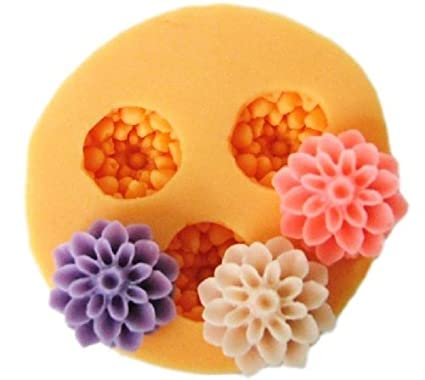 Allforhome(TM) 3 Cavities 1.5cm Mini Flower Sculpting Silicone Sugar Resin Craft DIY