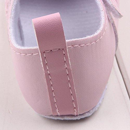 Xiangze La Moda De Primavera De La Nina De La PU De Cuero Suave Suela De Calzado Cuna Rosa