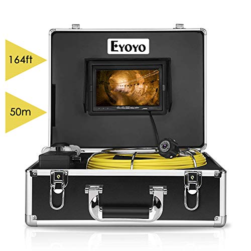 Eyoyo Pipe Pipeline Inspection Camera 50M/164ft Drain Sewer Industrial Endoscope Video Plumbing System with 7 Inch LCD Monitor 1000TVL DVR Recorder Snake Cam (Include 8GB SD Card)