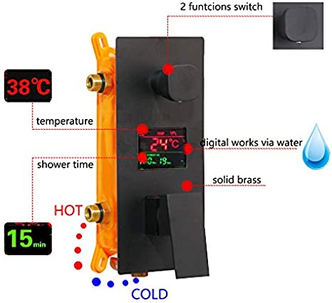 WANGYONGQI Bath Shower Faucet Black Temperature Digital Display Shower Sets Body Massage System Jets Tower Shower Column Faucet,8inches
