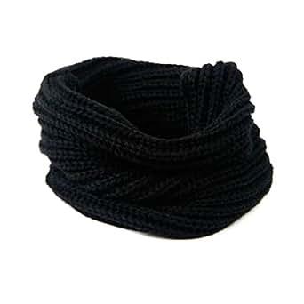 Juanshi Women Warm Infinity One Circle Knit Wool Blend Cowl Loop Scarf Shawl Color Black