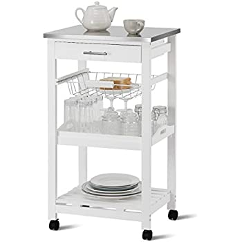 735692a20432 Giantex Kitchen Island Cart Rolling Kitchen Trolley with Stainless Steel  Tabletop Utility Storage Cart Restaurant Hotel Serving Cart with Casters