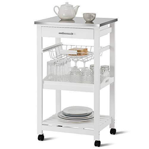 Giantex Kitchen Island Cart Rolling Kitchen Trolley with Stainless Steel Tabletop Utility Storage Cart Restaurant Hotel Serving Cart with Casters, Drawer, Basket, Removable Dining and Shelf White