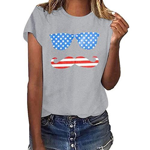 TWGONE Funny T Shirts for Women Festival Girls Plus Size Graphic Print Shirt Short Sleeve Blouse Tops(Medium,Gray-2)